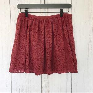 Madewell - Maroon. Lace. Mini Skirt